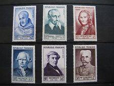 FRANCE neufs n° 945 à 950 CELEBRITES (1953) légères traces charnières