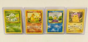 Base Set Pokemon Cards Pikachu Charmander Squirtle Bulbasaur
