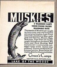 1946 Print Ad Muskies Musky Fishing Green's Camps Nestor Falls,Ontario Canada