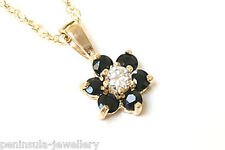 """9ct Gold Sapphire Cluster Pendant and 18"""" Chain Made in UK Gift Boxed"""