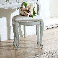 Grey Painted Ornate Dressing Table Stool Shabby French Chic Bedroom Furniture
