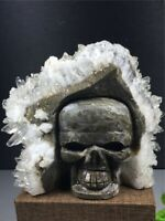 2.8 lb Natural Clear White Crystal Cluster Point Quartz Skull Healing Carving