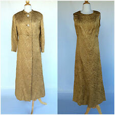 Vintage 1960s Gold Dress And Jacket Coat Full Length Gown Formal Holiday Party