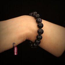 Bracelet Elastique Perle Grès Bleu Fonce Marine Simple Un Rang Classique 12MM