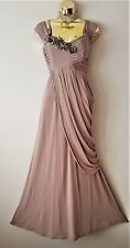 Coast Pasofino Gorgeous Mink Corsage Flower Detail Maxi Draped Evening Dress 10