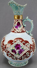 Nippon Hand Painted Moriage Net & Scrollwork Purple Roses Burgundy & Blue Ewer