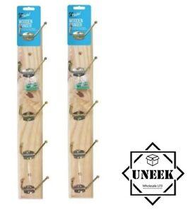 2x STRONG WOODEN WALL COAT HANGER Clothes Hangers Rack Hooks Pegs Pine Wood UK