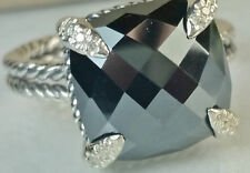 David Yurman Châtelaine Ring with Hematine and Diamonds, 11mm, Ring size 6.5