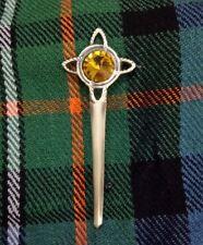 "Scottish Kilt Pin Yellow Stone Antique Finish 4"" Swirl Celtic Knot Pins & Brooch"