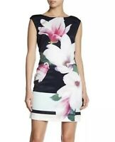 London Company Dress Sz 4 Navy White Sleeveless Women's Nora Floral Shift Dress