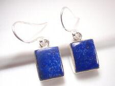Lapis Lazuli Basic Rectangles 925 Sterling Silver Dangle Earrings
