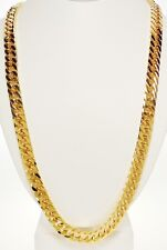 Stainless Steel Gold  10mm Flat Curb Chain 30 Inch Necklace - Rickis Gold Flash