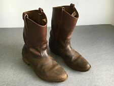 Vtg RED WING Boots Drk Brown Leather Work Motorcycle Riding Distress USA Men 9.5