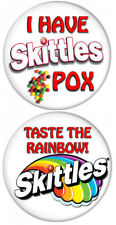 "SET OF 2 SKITTLES POX COUPLES BUTTONS 3"" SAFETY PIN HALLOWEEN COSTUME COSPLAY"