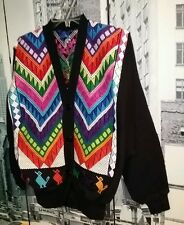 RARE VINTAGE BOHO HIPPIE AZTEC FESTIVAL BRIGHT MULTI COLORED CARDIGAN JACKET  M