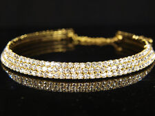 SALE Bridesmaid Prom 3 Rows Gold Plated Simulated Diamond Choker Necklace BN039G