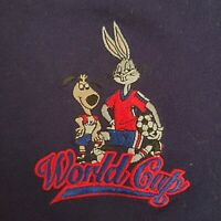 VTG 1994 Looney Tunes World Cup Soccer Blue Polo Shirt Embroidered Bugs Bunny 2X