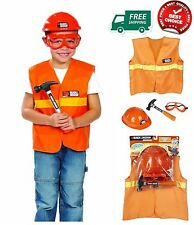 Kids Construction Vest Hat Goggles Play Set Costume Safety Toys Worker Build NEW