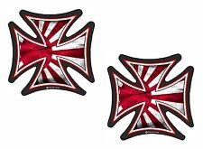 2pc Sml IRON CROSS & Japanese Rising Sun Flag Retro Biker vinyl car Sticker