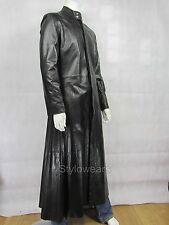 New Matrix Movie NEO The One Mens Black Gothic Style Designer Long Leather Coat
