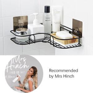 Shower Holder Shelf Rack Bathroom Tripod Metal Corner Storage Tray Black
