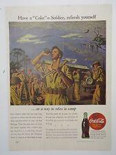 """Original Print Ad 1944 COCA-COLA Coke Have a """"coke"""" Soldier Refresh"""