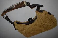 Yves Saint Laurent Hand Bag Hand Tasche Vintage YSL Woven Straw Mombasa Horn Hob