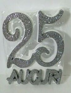 decorazione polistirolo 25 auguri argento festa decorazione tavolo