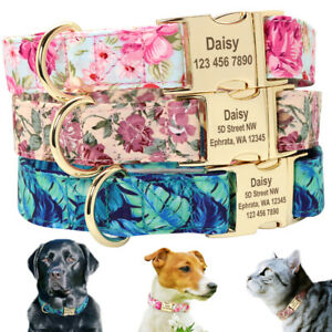 Floral Dog Collar Personalised Side Release Golden Buckle Custom ID Engraved SML