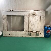 Vtg Antique Primitive Wood Chicken Coop Crate Door Country Farm White Frame Wall