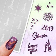 Schablonen für Airbrush Nailart SET101 Silvester Neujahr Weihnachten Glück