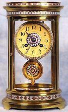 Superb French Cloisonne Champleve Bronze Dore Ormolu Crystal Regulator Clock