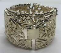 "Vintage Bracelet 8"" Gold Tone Flowers"