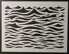 "Ocean Waves Wavey Wavy Wave Water Pattern 11"" x 8.5"" Stencil FAST FREE SHIPPING"
