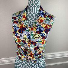 15ff126d597692 Vintage Womens Novelty Print Top Shirt Umbrella Print Unusual Medium Summer  M