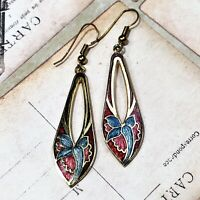 New Faux Stained Glass Style Teardrop Gold Tone Fish Hook Dangle Flower Earrings