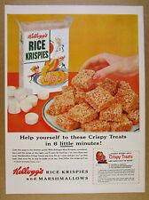 1954 Kellogg's Rice Krispies cereal box & crispy treats photo vintage print Ad