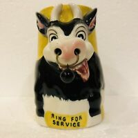 VTG 3D Figural Cow Mug Milk Glass w/ Bell In Nose Ring For Service & Bottoms Up
