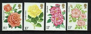 MINT 1976 GB ROSE SOCIETY FLOWERS STAMP SET OF 4