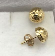 18k Solid Yellow gold 8 mm earring half round diamond cut ball stud 1.50 gram