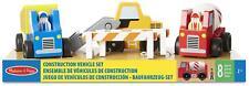Melissa & Doug CONSTRUCTION VEHICLES SET Wooden Toy BN