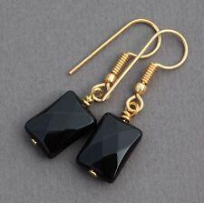 BLACK AGATE DROP EARRINGS ~ GOLD PLATED