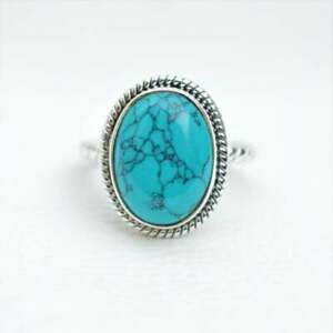 Natural Turquoise Ring-Handmade Oval Cut Turquoise Sterling Silver Stylish Ring