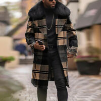 Plaid Mens Outwear Cardigan Polar Casual Sleeve Coat Thicken Faux Fur Thin