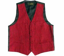 SALE Mens Wool Dogtooth Waistcoat  Red With Black Check Tweed M 40 42