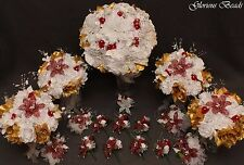 Bridal Bouquet Wedding Flower Burgundy Gold 17 PC Package BEADED Lily Rose Beads