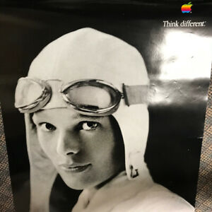 """POSTER """"Think different"""" AMELIA EARHART ORIGINAL from Apple Computer 24"""" x 35"""""""