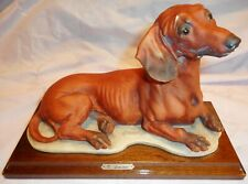 Giuseppe Armani Figurine Dog -Dachshund Rare Early Rectangle Base