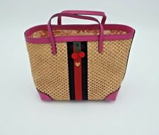 ee89af7e571 NWT Gucci Girls Paglia Mesh Straw Pink Leather Web Small Tote Bag New  650