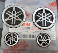 YAMAHA GENUINE Domed Decal Sticker BLACK + SILVER Fork / Tank 25mm + 45mm x 4